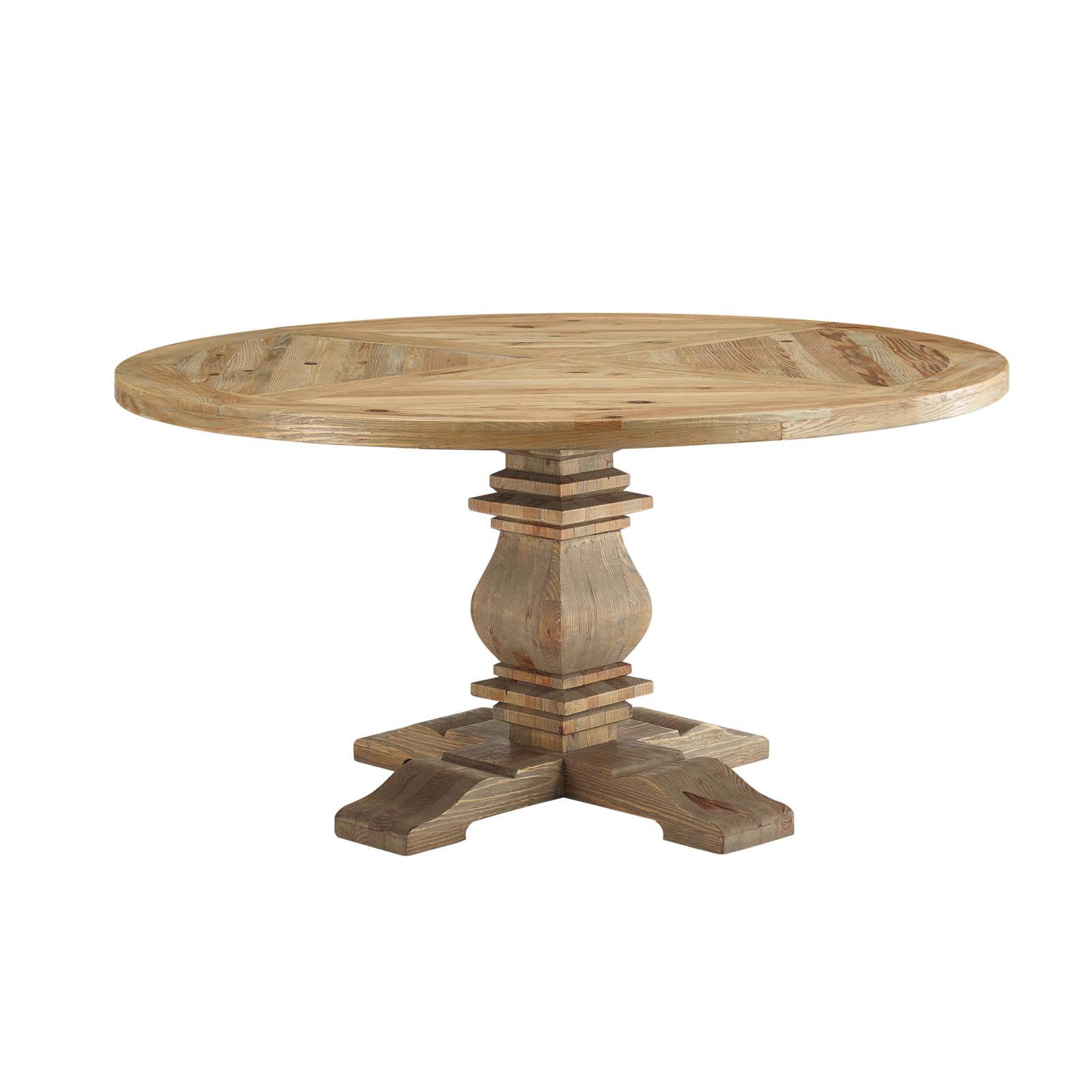 "Wood Round Dining Table: Column 59"" Round Pine Wood Dining Table Brown"