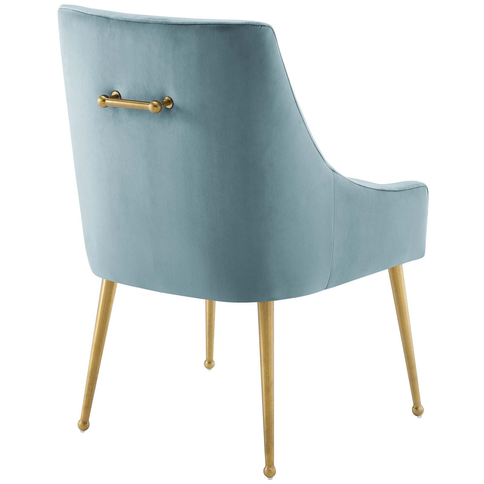 Discern Upholstered Performance Velvet Dining Chair Light Blue