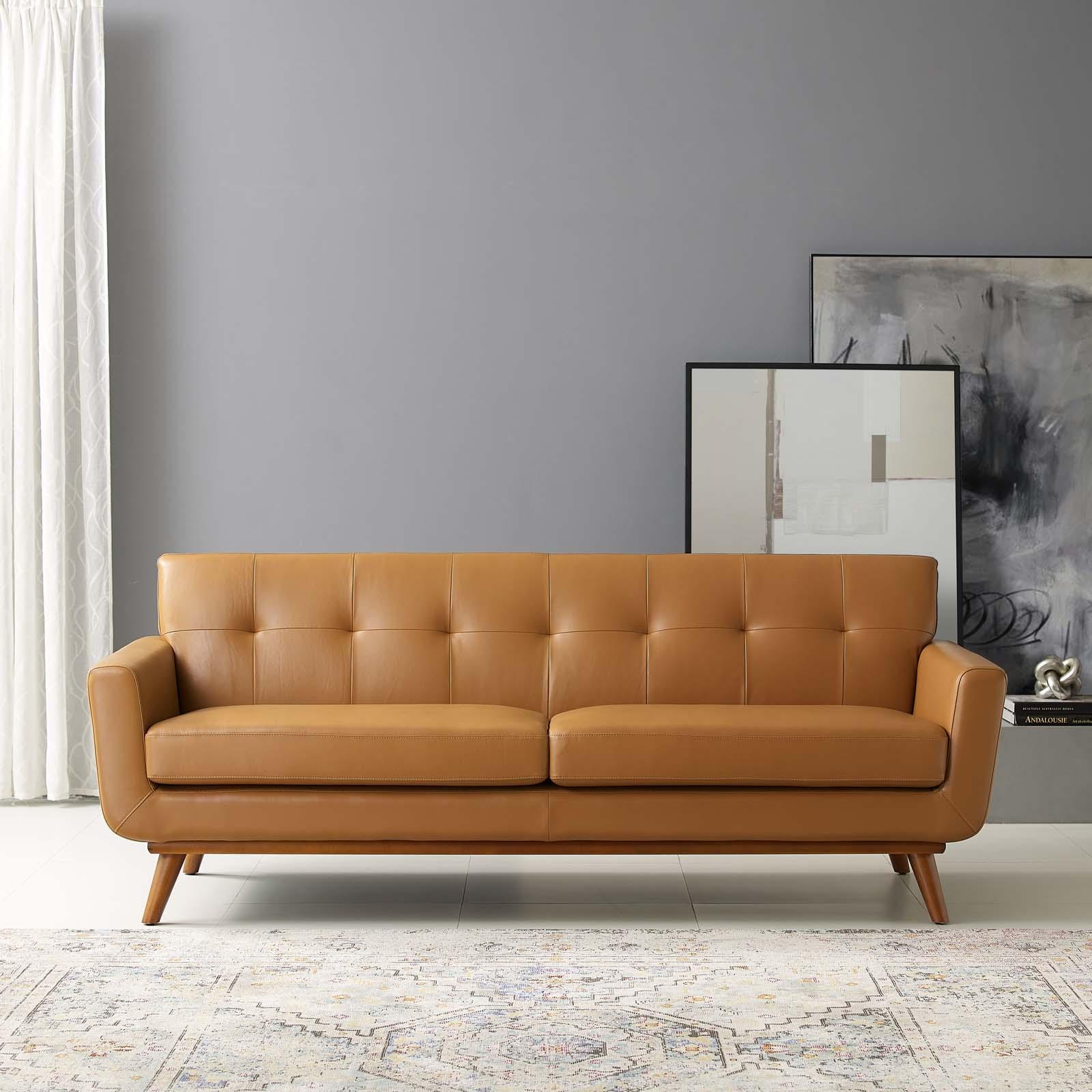engage topgrain leather living room lounge sofa tan