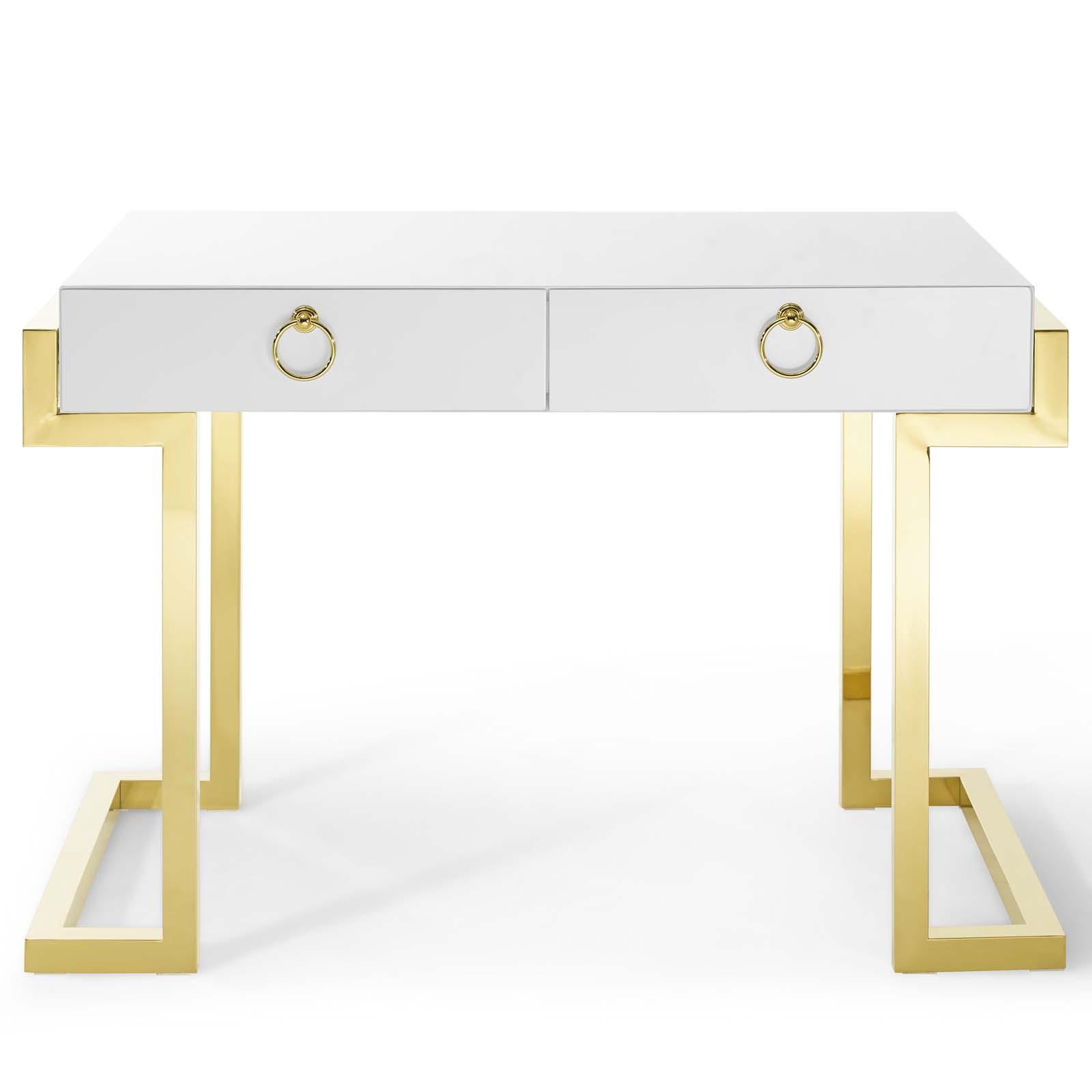 Ring Office Desk Gold White