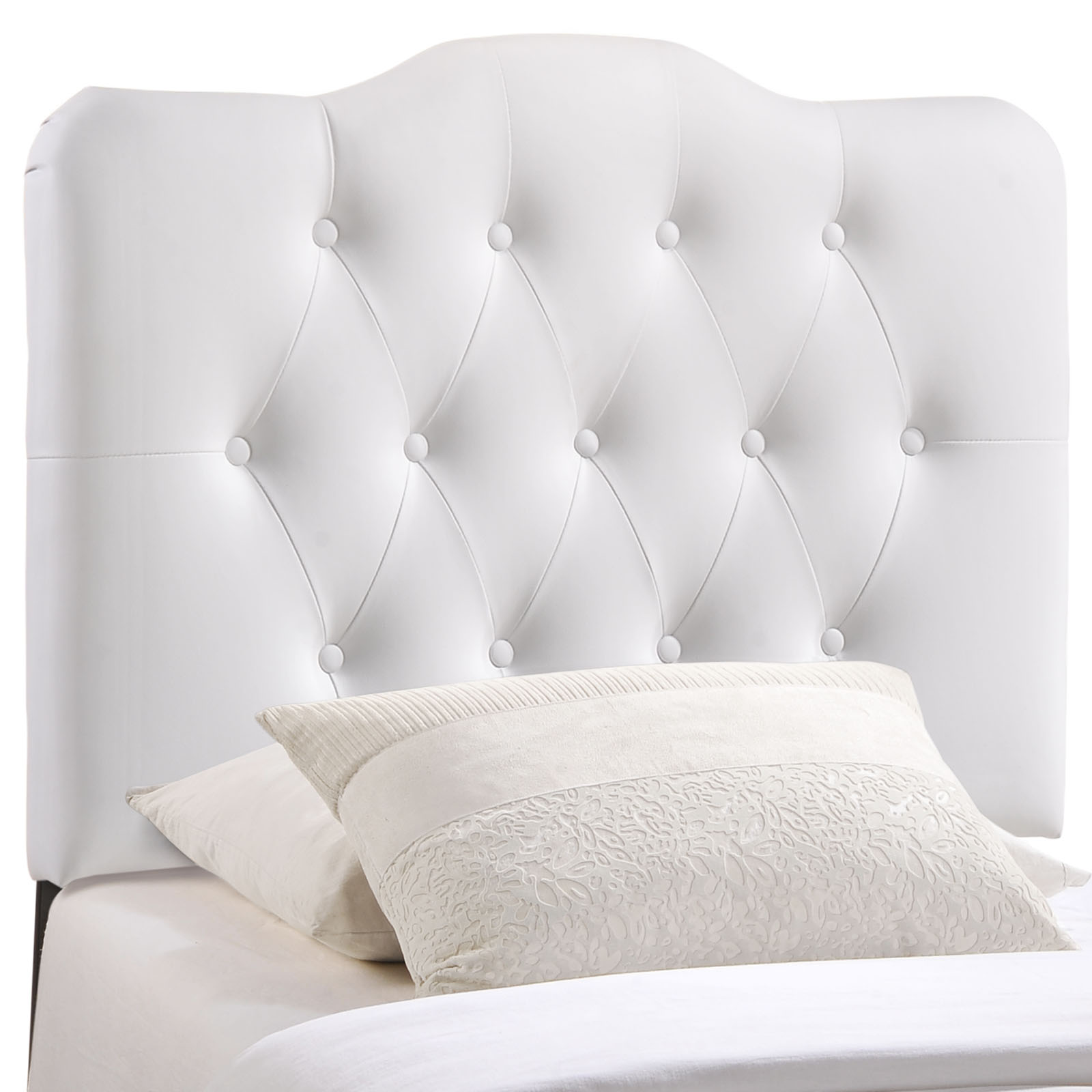 Annabel Twin Upholstered Vinyl Headboard White