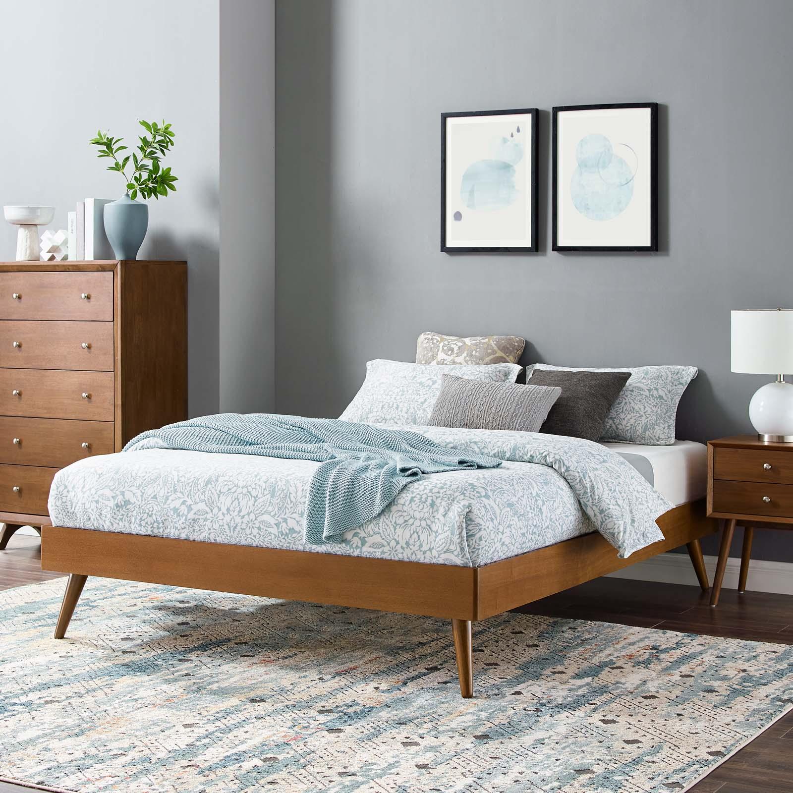 Margo Queen Wood Platform Bed Frame Walnut