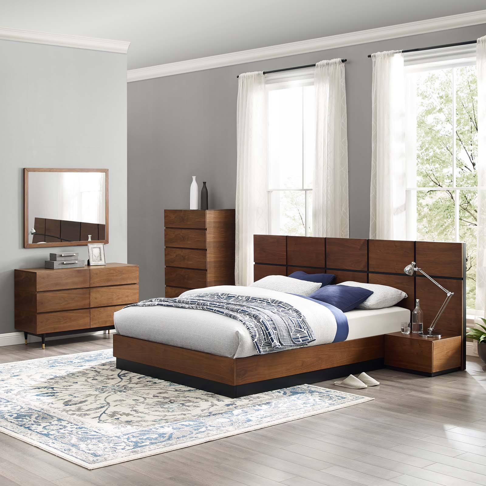 caima 6piece bedroom set walnut