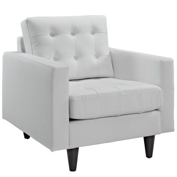 Empress Bonded Leather Armchair White