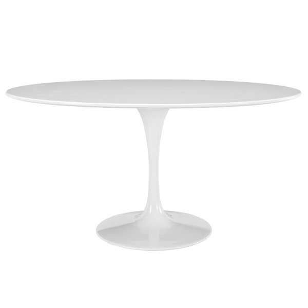 "Lippa 60"" Oval Wood Top Dining Table White"