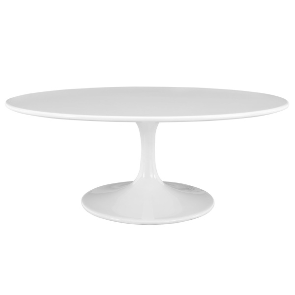 "EEI-1139-WHI Lippa 42"" Oval-Shaped Wood Top Coffee Table"