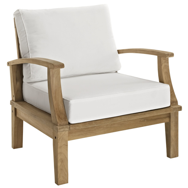 EEI-1143-NAT-WHI-SET Marina Outdoor Patio Teak Armchair