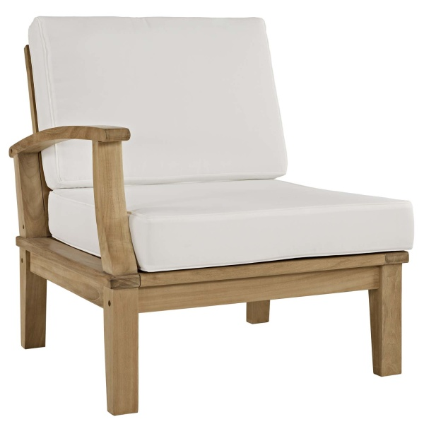EEI-1148-NAT-WHI-SET Marina Outdoor Patio Teak Left-Facing Sofa Arm Chair
