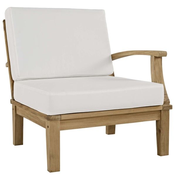 EEI-1149-NAT-WHI-SET Marina Outdoor Patio Teak Right-Facing Sofa Arm Chair