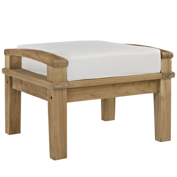 EEI-1152-NAT-WHI-SET Marina Outdoor Patio Teak Ottoman Natural
