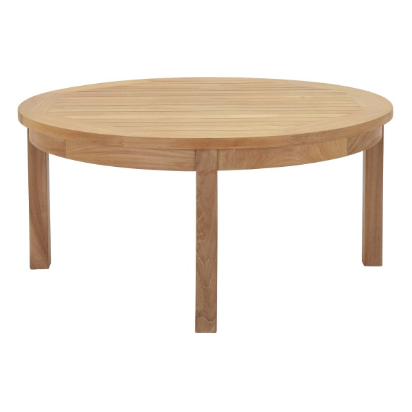 Marina Outdoor Patio Teak Round Coffee Table Natural