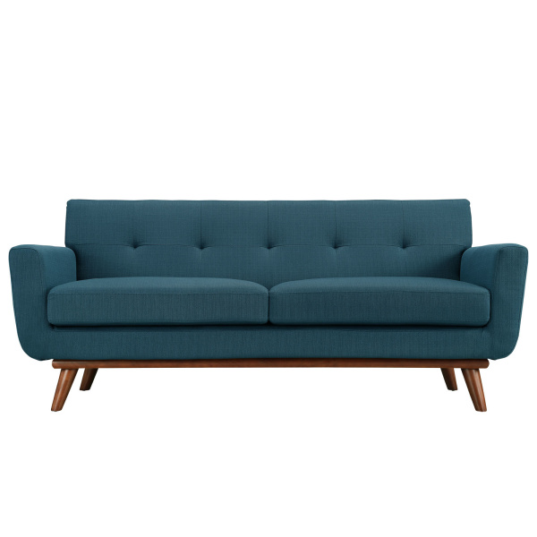 Engage Upholstered Fabric Loveseat Azure