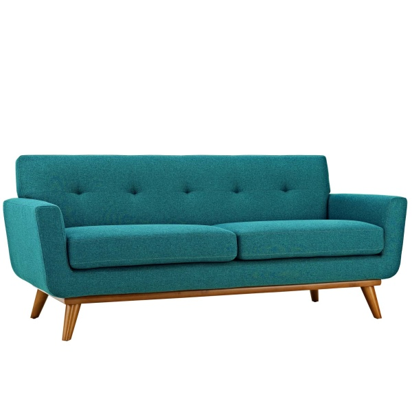 Engage Upholstered Fabric Loveseat Teal
