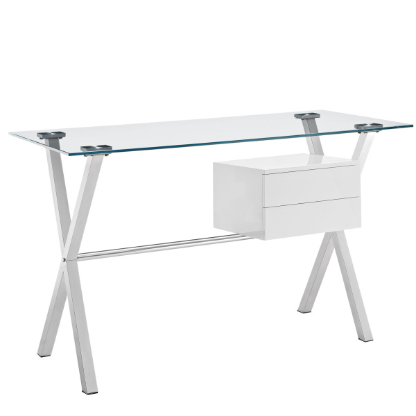 EEI-1181-WHI Stasis Glass Top Office Desk White