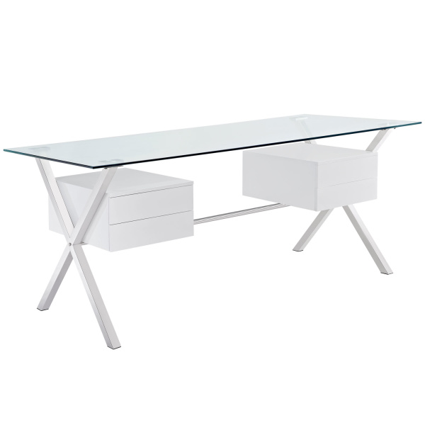 EEI-1182-WHI Abeyance Glass Top Office Desk White