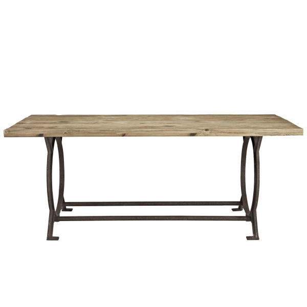 Effuse Rectangle Wood Top Dining Table Brown