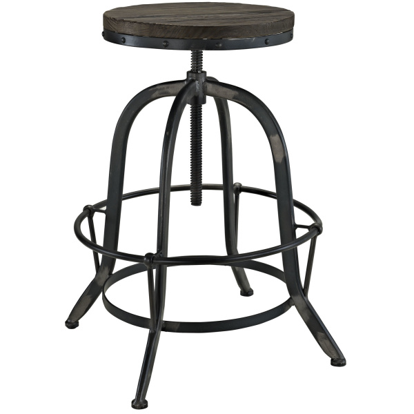 Collect Wood Top Bar Stool Black