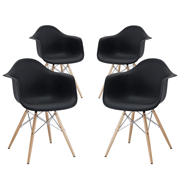 EEI-1257-BLK Pyramid Dining Armchair Set of 4 Black