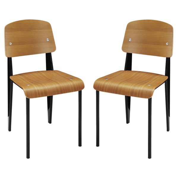 EEI-1262-WAL Cabin Dining Side Chair Set of 2 Walnut