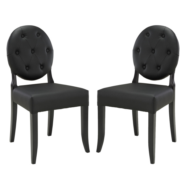Button Dining Side Chair Set of 2 Black