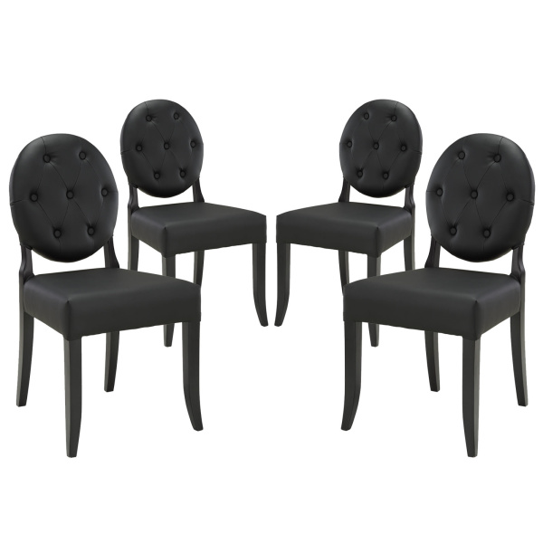 Button Dining Side Chair Set of 4 Black