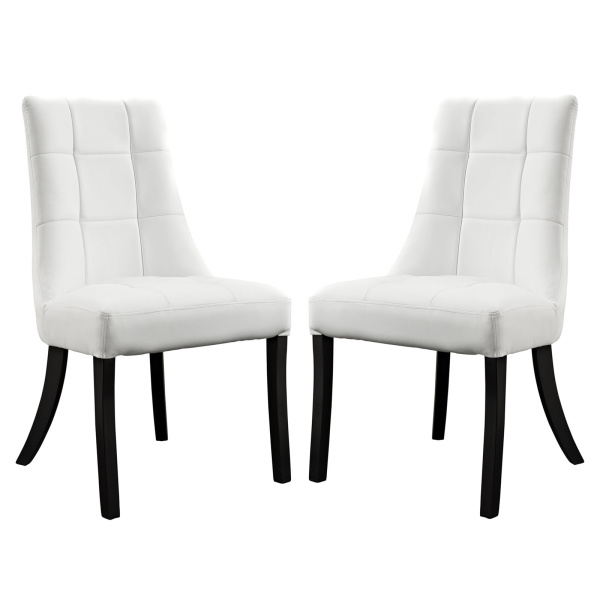 Noblesse Vinyl Dining Chair Set of 2 White