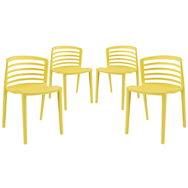 Curvy Dining Chairs Set of 4 Yellow