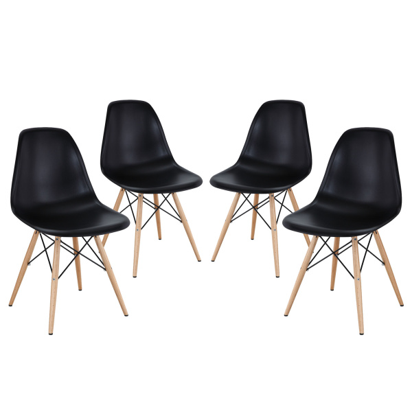 EEI-1316-BLK Pyramid Dining Side Chairs Set of 4 Black