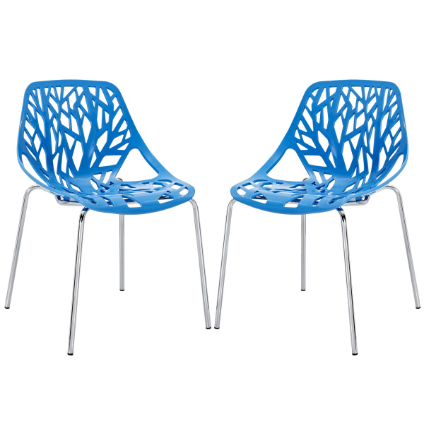 EEI-1317-BLU Stencil Dining Side Chair Set of 2 Blue