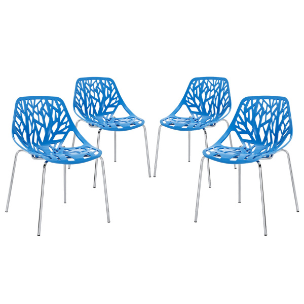 EEI-1318-BLU Stencil Dining Side Chair Set of 4 Blue