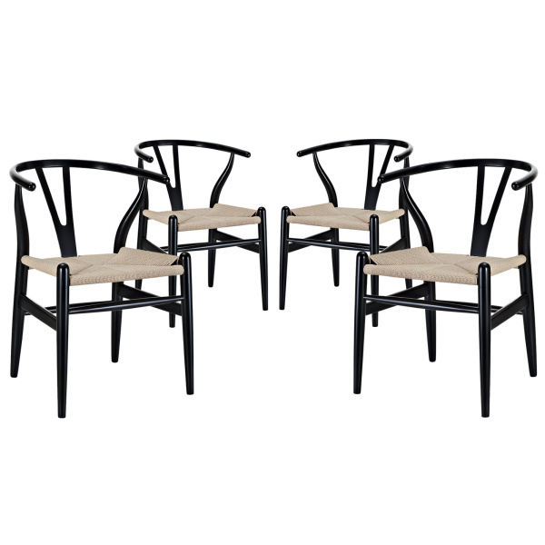 Amish Dining Armchair Set of 4 Black