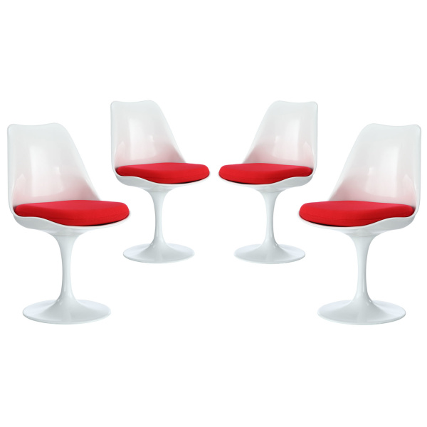 EEI-1342-RED Lippa Dining Side Chair Fabric Set of 4 Red