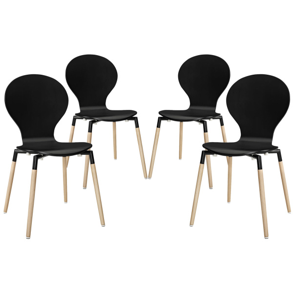 EEI-1369-BLK Path Dining Chair Set of 4 Black
