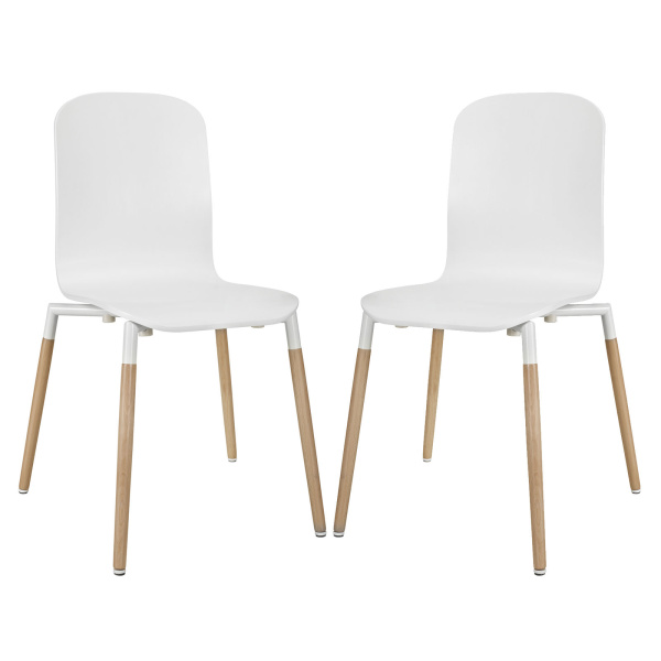 Stack Dining Chairs Wood Set of 2 White