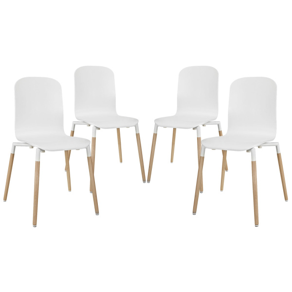 Stack Dining Chairs Wood Set of 4 White