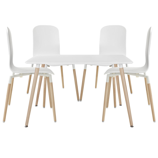 Stack Dining Chairs and Table Wood Set of 5 White