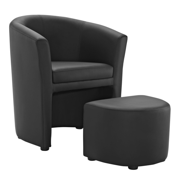 Divulge Armchair and Ottoman Black