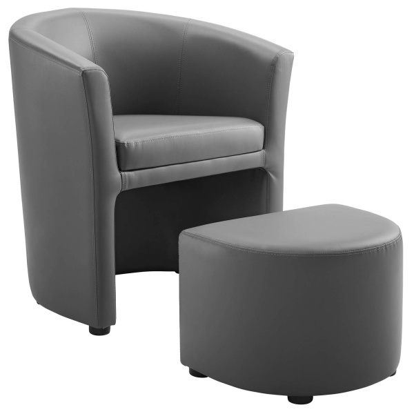 Divulge Armchair and Ottoman Gray