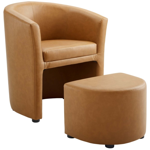 EEI-1407-TAN Divulge Armchair and Ottoman Tan