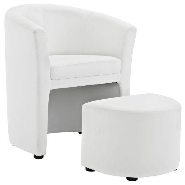 Divulge Armchair and Ottoman White