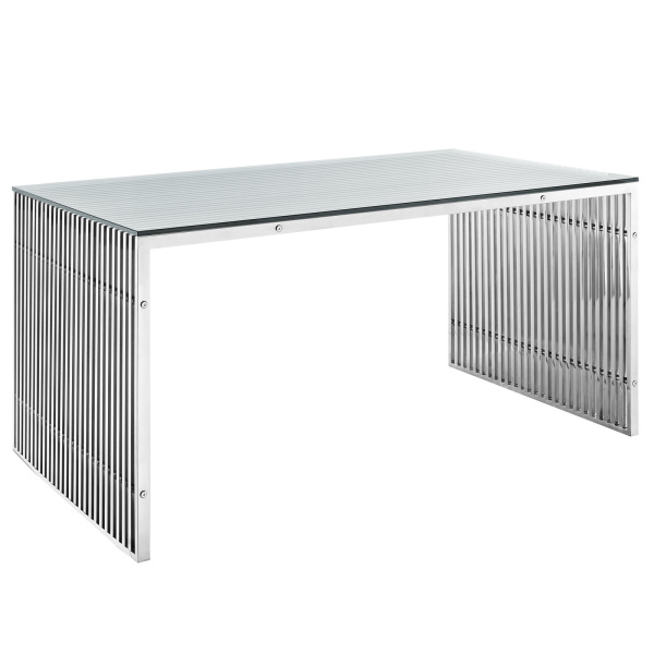 Gridiron Stainless Steel Rectangle Dining Table Silver