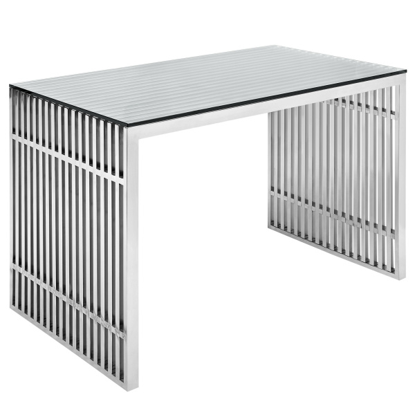 Gridiron Stainless Steel Office Desk Silver