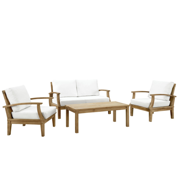 Marina 4 Piece Outdoor Patio Teak Set Natural White Arm Chairs
