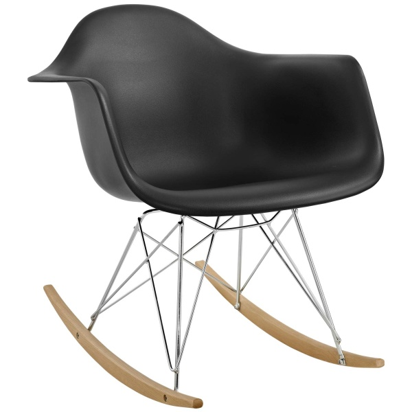 Rocker Plastic Lounge Chair Black
