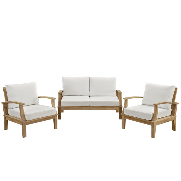 Marina 3 Piece Outdoor Patio Teak Set Natural Arm Chairs