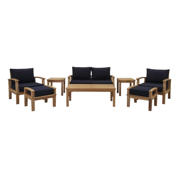Marina 8 Piece Outdoor Patio Teak Set Natural Arm Chairs