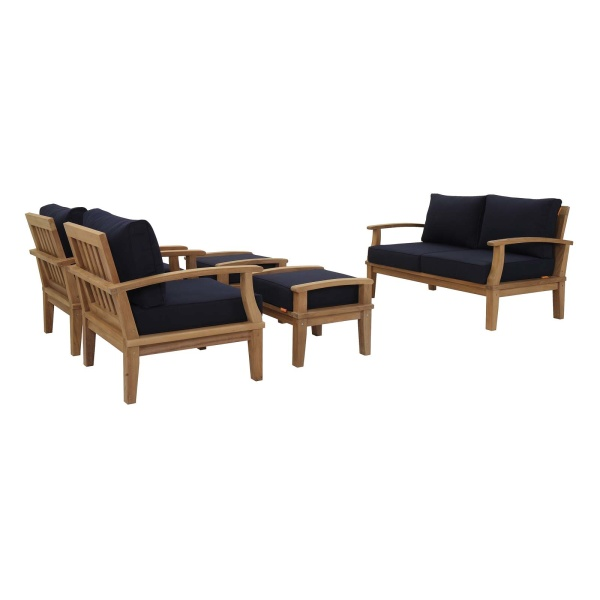 Marina 5 Piece Outdoor Patio Teak Set Natural Arm Chairs