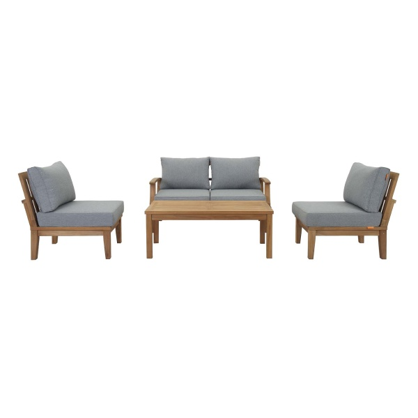Marina 5 Piece Outdoor Patio Teak Set Natural Gray