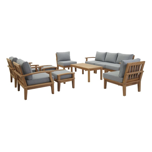 Marina 10 Piece Outdoor Patio Teak Set Natural Gray Arm Chairs