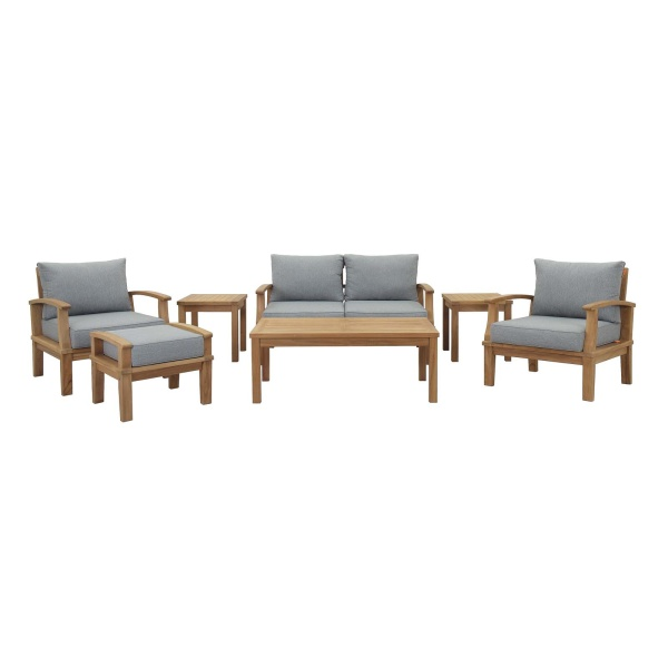 Marina 7 Piece Outdoor Patio Teak Set Natural Gray Arm Chairs